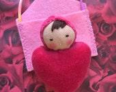 Waldorf dolls, Waldorf Valentine, Waldorf toys, pocket doll, gift for kids, natural doll, doll necklace, handmade doll