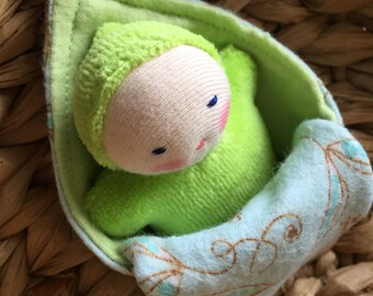 Lime Green Pocket baby, Waldorf doll, Waldorf toys, germandolls, baby doll, sibling gift, baby shower gift, small doll