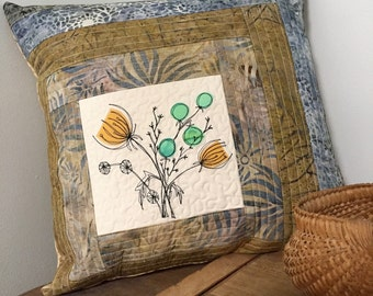 """Botanical Quilted Pillow cover art 18"""" log cabin patchwork"""