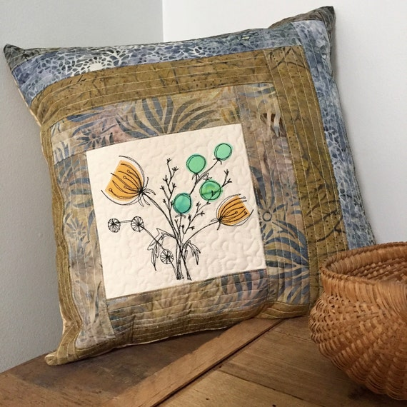 "Botanical Quilted Pillow cover art 18"" log cabin patchwork"