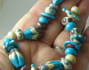 SRA Lampwork Beads Catalinaglass Southwest Turquoise