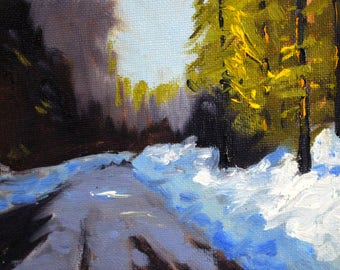 Winter Light, Original Landscape, Oil Painting, Small 4x5 Canvas, Snowy Road, Trees, Rural Forest, Blue Green, Yellow Lavender, Miniature