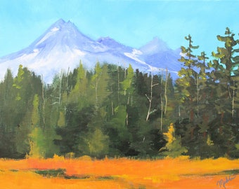 Large Oregon Landscape Painting, Original 18x24, Broken Top Mountain, Gallery Canvas, Northwest Nature Scene, Green Trees, Blue Orange