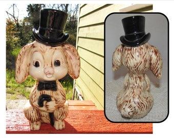 Vintage Ceramic Bunny Rabbit wearing a Top Hat, figurine, 1979