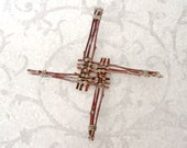 CUSTOM Brigid Cross - You Choose Color Twine - Unique Handmade Rustic Woven Apple Wood Wall Decor - Housewarming Blessing Gift ABC03