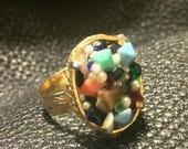Boho Chic Vintage Adjustable Multi Stone Ring