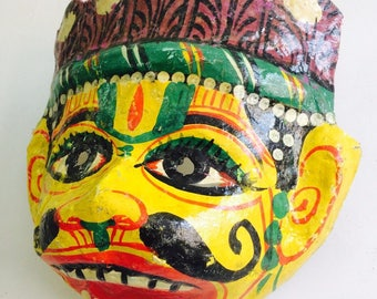 Antique Indian Hanuman Mask Paper Mache. Hindu. Spiritual. Monkey God