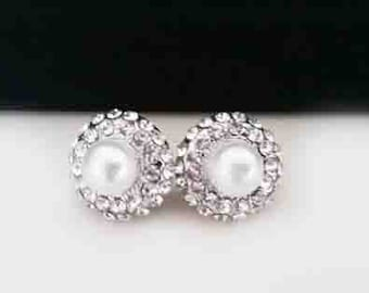 Bridal Stud Earrings Wedding Pearl Crystal Studs Round 15mm Classic Bride Stud Earrings Diamond Rhinestone White Ivory Pearl Jewelry Sukran