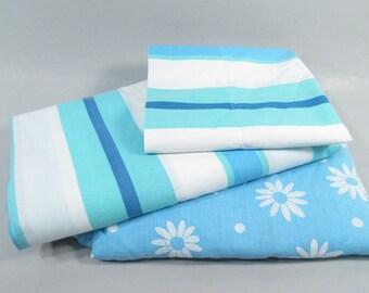 Vintage twin sheets, remixed twin sheet set, blue striped sheets, daisy sheets, vintage mixed sheets in blues