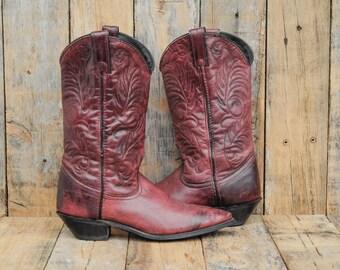 Western Boots, Us 7.5, 7-1/2, Uk 5.5, Eu 38, Womens Cowboy Boots, Purple Boots, Leather Cowboy Boots, Acme Boots, USA MADE,