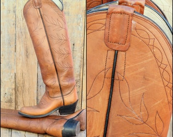 Leather Riding Boots, Us 5, Uk 3, Eu 35, Leather Cowboy Boots, Tall Cowboy Boots, Equestrian Boots, USA MADE, Brown Riding Boots,