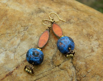 Orange Czech Bead and Stoneware Clay Bead Earrings