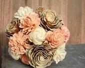 Sola flower bouquet, brides wedding bouquet, champagne, rose gold, blush wedding flowers, eco flower bouquet, alternative keepsake