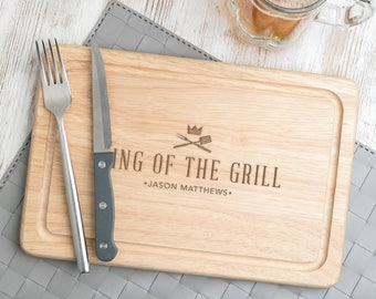 Fathers day grilling 'King Of The Grill' Cutting Board Serving Board Fathers day grilling gift Father's Day Gifts 30x20cm