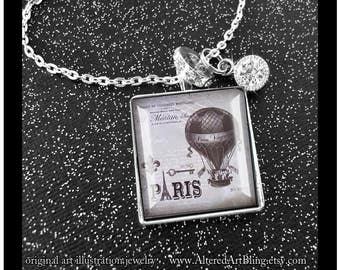 Memories of Paris, # 5 in the series of 12,art pendant,Paris,Eiffel tower,french script,illustration jewelry,french inspired,hot air balloon
