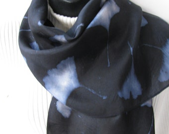 Unique Scarf for Women Hand Dyed Silk Scarf Midnight Blue with Ginkgo Leaves Gift for Her Gift for Nature Lover Mom Wife eco Winter Fashion