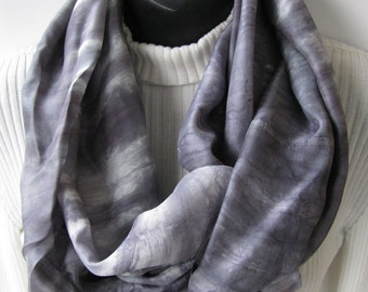 Womens Shibori Dyed Silk Infinity Scarf Gray and Pewter Mens Scarf Shibori clothing spring scarf summer scarf gift for him gift for her mom