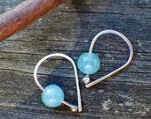 20% OFF Today Apatite sterling silver open hoop earrings