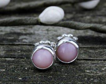 Pink opal sterling silver stud earrings