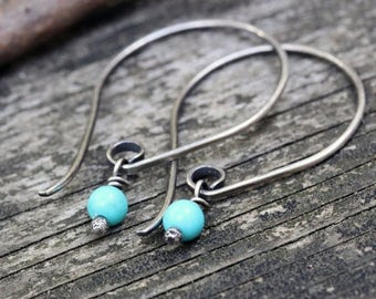 20% OFF TODAY Baby blue Mexican turquoise sterling silver dangle earrings