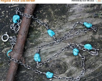 20% OFF Mothers Day Sale Natural Sleeping Beauty turquoise nugget sterling silver layer necklace