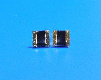 Vintage Gold and Black Square Post Earrings