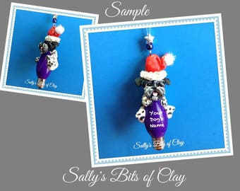 Black and White Parti Schnauzer Santa Dog Natural Ears Christmas Light Bulb Ornament Sally's Bits of Clay PERSONALIZED FREE with dog's name