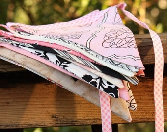 ENTIRE Store On SALE Fabric Bunting Banner Photography Prop,  9 Flags in Light Pinks, Black, White, Gray, Beige, Designer's Choice. Weddings