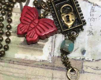 Altered Art charm necklace, Butterfly, lock and key, mixed media, handmade, OOAK,  #bostoncharm, art charms, resin