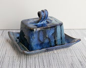 Black, Denim Blue, and Mint Green Butter Dish with Lid - Reserved for Toni