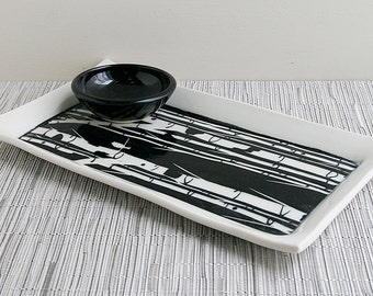 Appetizer, Serving Tray with Black and White Sgraffito Birch Tree Design