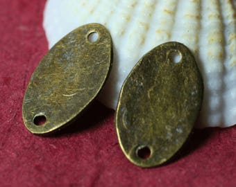 Hand hammered antique brass oval link drop charm size 14x7mm, 4 pcs (item ID XW01252ABK)