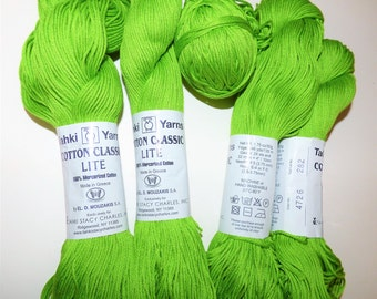 Cotton Yarn lime green Tahki Classic Lite Mercerized Cotton lime green Imported from Greece El.D. Mouzakis machine wash