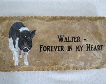 Memorial Stones Hand Painted 12 x 6 inches Pet Pig Made to Order by Pigatopia