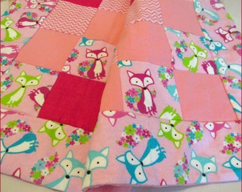 Trendy Baby Girl Fox Quilt - Baby Shower Gift - Flannel blanket in Pink Baby Forest Animal Nursery, Car, travel, small quilt for diaper bag