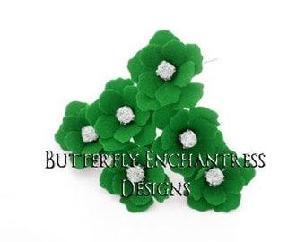 Wedding Hair Flowers, Green Bridal Hair Accessories, Mother Bridesmaid Favor Gift - 12 Emerald Green Mini Buttercup Hair Pins - Rhinestone