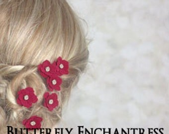 Bridal Wedding Hair Flowers, Hair Accessories, Mother of the Bride Bridesmaid Gift - 12 Dk Red Mini Buttercup Hair Pins - Rhinestone