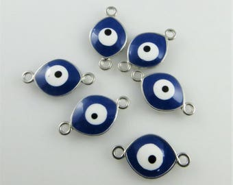 Blue Evil Eye Connectors, Six (6) Pieces - 20mm