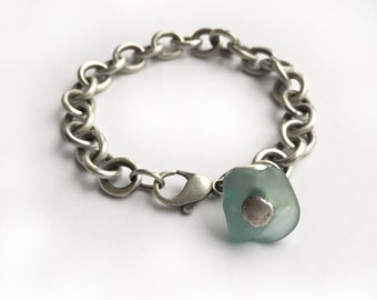 Bright Aqua Seaglass Lake Erie Beach Glass Sterling Silver Heavy Vintage Recycled Tiffany Chain Bracelet Adjustable