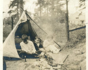 Vintage photo Boys Playing Camp Out Tent Tee Pee 1919