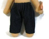 Blue denim pants for 8 inch baby doll, simple jeans for 8 inch waldorf doll