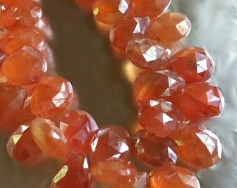 Carnelian Pears in Brilliant Orange with Diamond Finish TOP Drilled