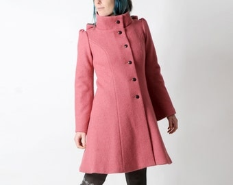 Rosewood Pink wool Coat, Womens pink winter coat, pointy hood, Rosewood pink hooded coat, Winter fashion, Womens clothing, MALAM