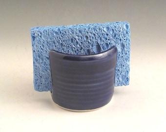 Sponge Holder - Ceramic Sponge Drying Bowl - Stoneware Kitchen Accessory - Paper Napkin Caddy - Royal Cobalt Blue - Ready to Ship  h463