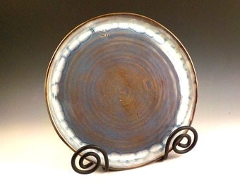Ceramic Platter - Large Serving Plate - Stoneware Cake Plate - Handmade Pottery - Blue Rutile w/ Creamy Rim - Charger - Ready to Ship  s507