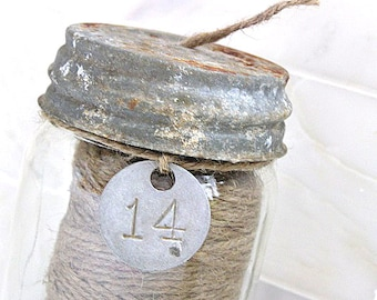 Glass Jute Twine Dispenser Vintage Zinc Lid Metal Numbered Tag