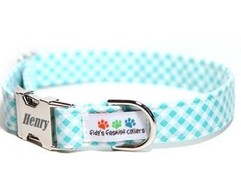 Plaid Dog Collar, Personalized Dog Collar optional, Aqua Bias Check (shown with optional engraving)
