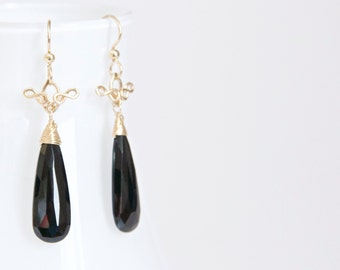 Lucia - Black Spinel and 14k Gold Filled Long Drop Earrings