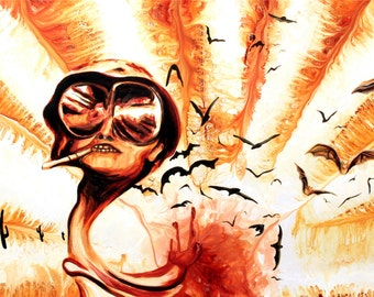 """Hunter S Thompson signed 40""""x18"""" canvas giclee"""