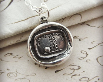 Cupid Wax Seal Necklace - Love Rules the World - French motto Love Necklace - F190